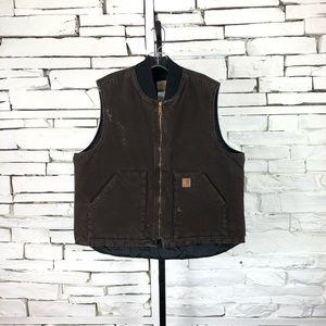 Carhartt Full ZIP Quilted Vest Brown XLarge 2196
